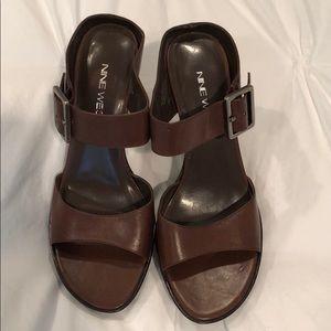 NINE WEST leather heel sandal